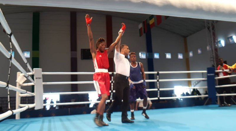 Mambou Dorine in the -57kg female boxing category