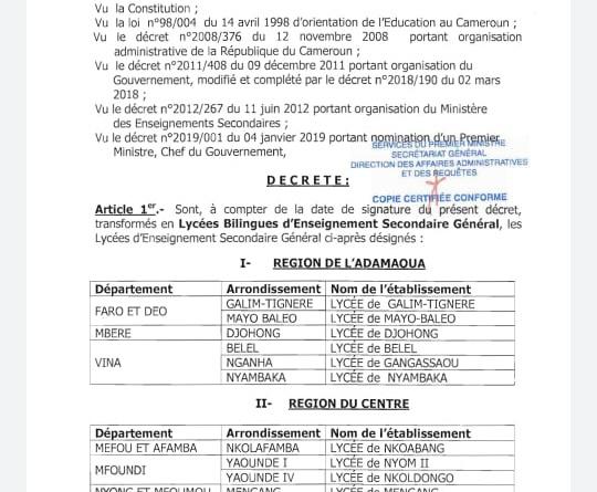 Decree creating bilingual schools in Cameroon
